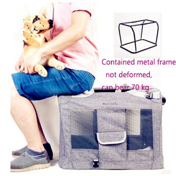 Foldable Oxford Linen Dog Crate Large Space Steel Frame Loading 70kg Pet Carrier Anti-bacterial Easy Clean Ventilated Doggy Bag