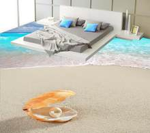 Floor Painting 3D Wallpaper Sea Wave Beach Shell 3D Floor Non-slip Waterproof Self-adhesive PVC Wallpaper(China)