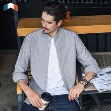 LANGMENG New Brand Mens Casual Shirt Long Sleeve Mandarin Collar Oxford Shirts Slim Fit Cotton Business Dress For Men