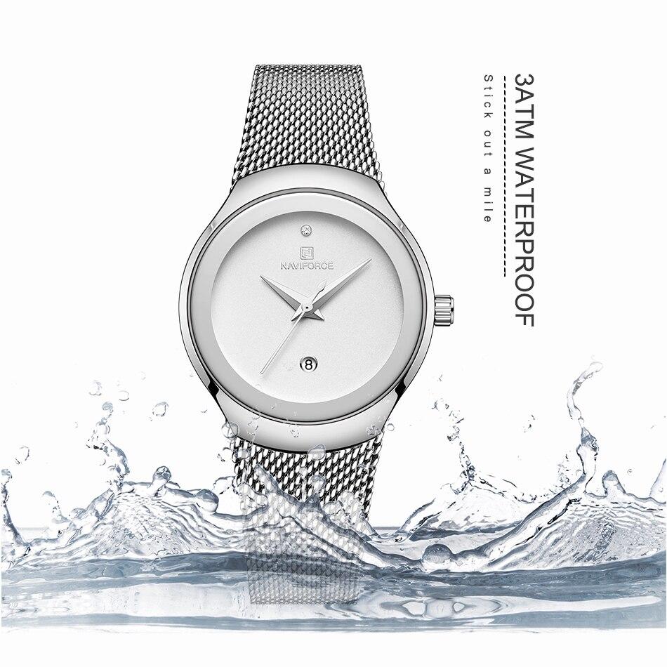 NAVIFORCE Relojes de mujer Top Marca de lujo Dama Moda Casual Correa de malla de acero simple Reloj de pulsera de regalo para niñas Relogio Feminino (4)