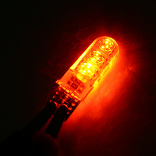 Signal Light Trunk Lamp 12V Yellow 6000K High Temperature Resistant Silicone 10x W5W LED T10 5050 Bulb Car Turn