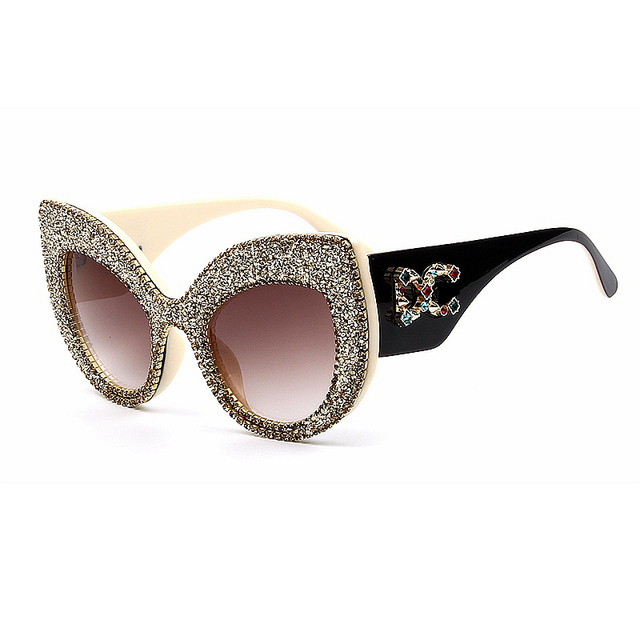 7944d8e1846 2019 Newest Fashion women cat eye sunglasses vintage oversize Brand Designer  Bling Diamond Sun glasses men Female shades Women