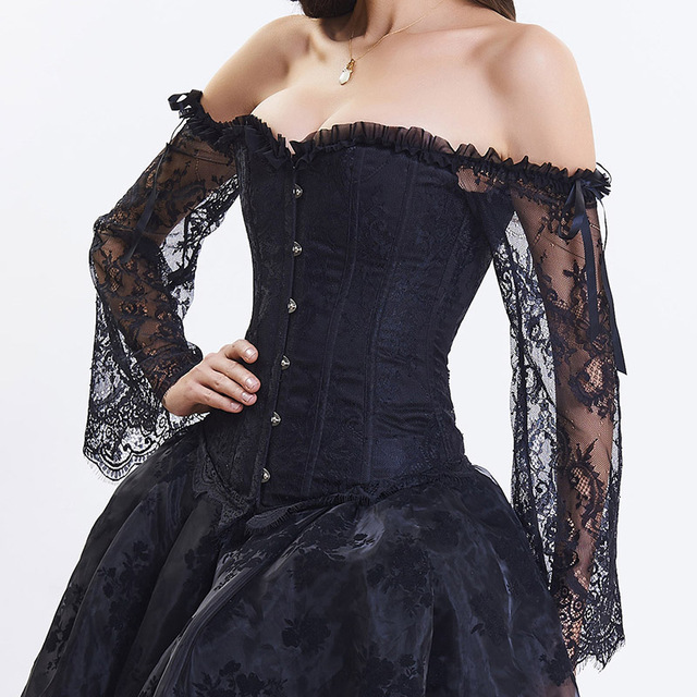 Black-White-Lace-Long-Sleeve-Steampunk-Corset-Sexy-Gothic-Corsets-And-Bustiers-Burlesque-Clothing-Victorian-Korsett.jpg_640x640 (2)