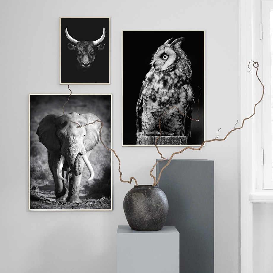 สีดำสีขาวช้างนกฮูกวัวกวาง Tiger สัตว์ Wall Art ภาพวาดผ้าใบ Nordic โปสเตอร์และพิมพ์ภาพผนังสำหรับห้องนั่งเล่นห้อง