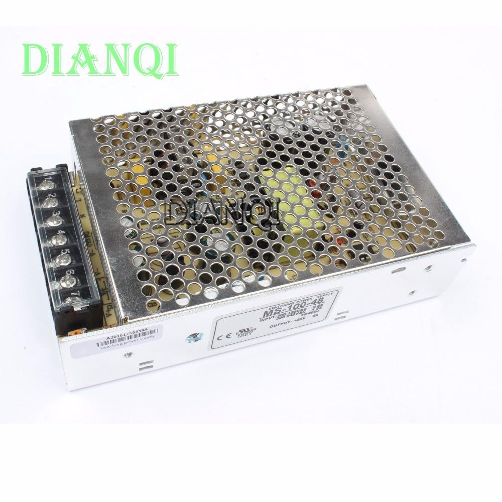 DIANQI power supply 100w 48v 2a power suply unit 100w 48v mini size din led  ac dc converter ms-100-48 spe 100w 12v 100w 8 3a led power supply converter black