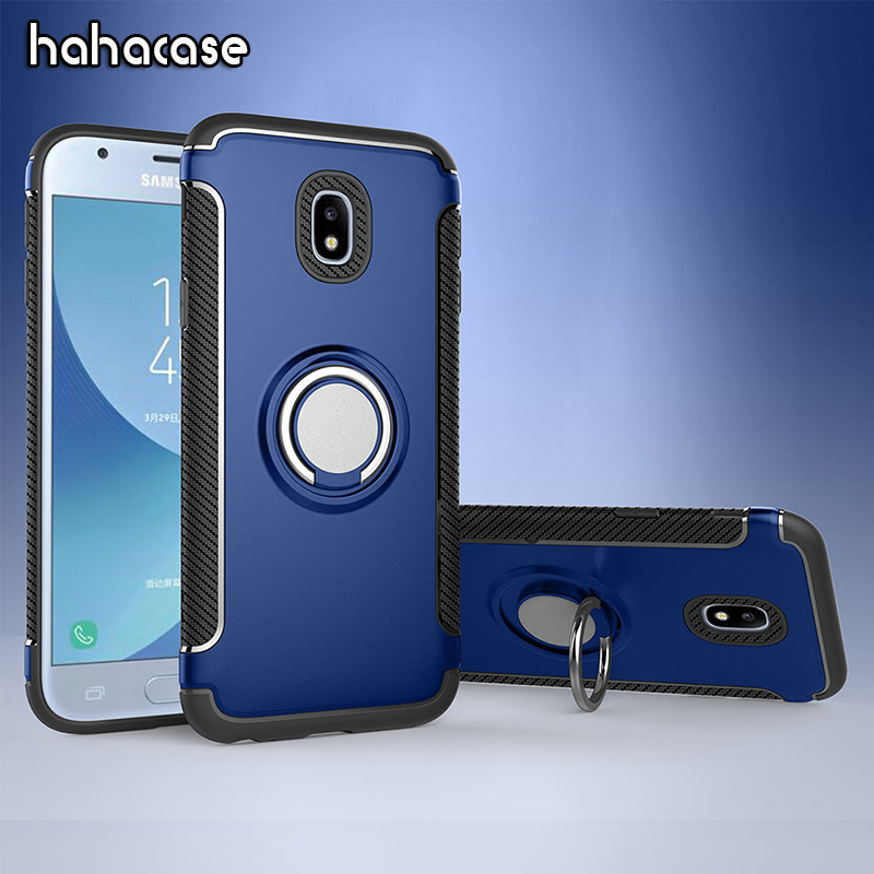 50pcs Shockproof Hybrid TPU+PC Cover For Samsung J3 J5 J7 2016 2017 J4 J6 8 2018 Car Holder Stand Magnetic Bracket Ring Cover