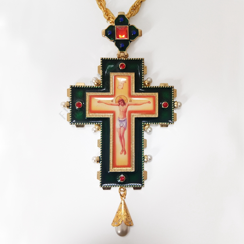 High quality pope francis pectoral cross orthodox cross necklace religious jesus icon metal is encrusted with