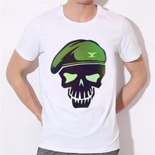 Skull officer skeleton printing men s T shirt Batman Arkham Asylum City Suicide Squad Harley Quinn