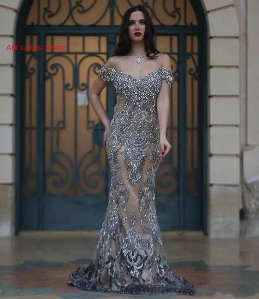 New Mermaid   Evening     Dresses   Beaded Crystals 2019 New Women Formal Gowns For Prom Wedding Party   Dresses   Robe De Soiree