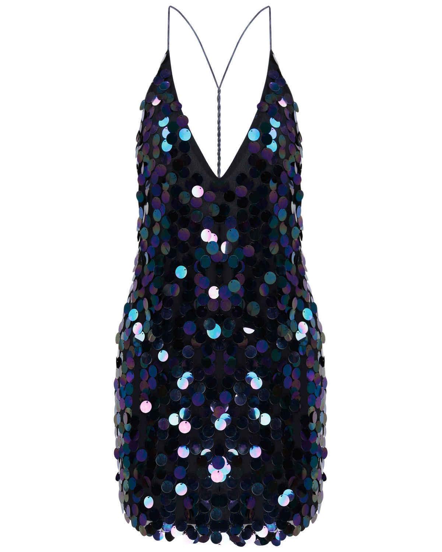 Для женщин Сексуальная спинки платья с пайетками Дамы бинты Bodycon рукавов коктейль клуб короткие мини-платье