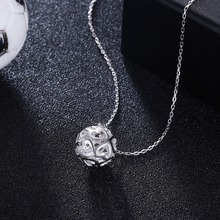 GOMAYA 925 Sterling Silver World Cup Football Modeling Hollow Love  Necklace for Women Men Jewelry Gift