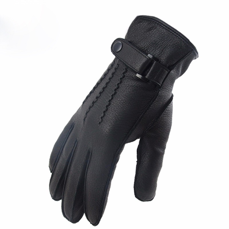 New  Motorcycle Men retro Top Grain Thermal Winter Deerskin Elkskin Gloves  scooter  glove Cafe Bobber Glove Work Ski  glove