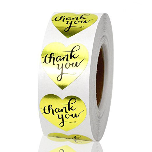 500pcs  Gold Heart Shaped Foil Thank You Stickers Labels For Wedding, Anniversary, Gift Or Birthday Thank You Envelope