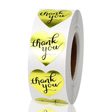 500pcs  Gold Heart Shaped Foil Thank You Stickers Labels for Wedding, Anniversary, Gift or Birthday you Envelope
