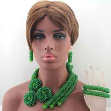 Fashion Green Chunky Beads African Jewelry Sets Green Beaded Crystal Costume Necklace Set for Wedding Free Shipping W13668
