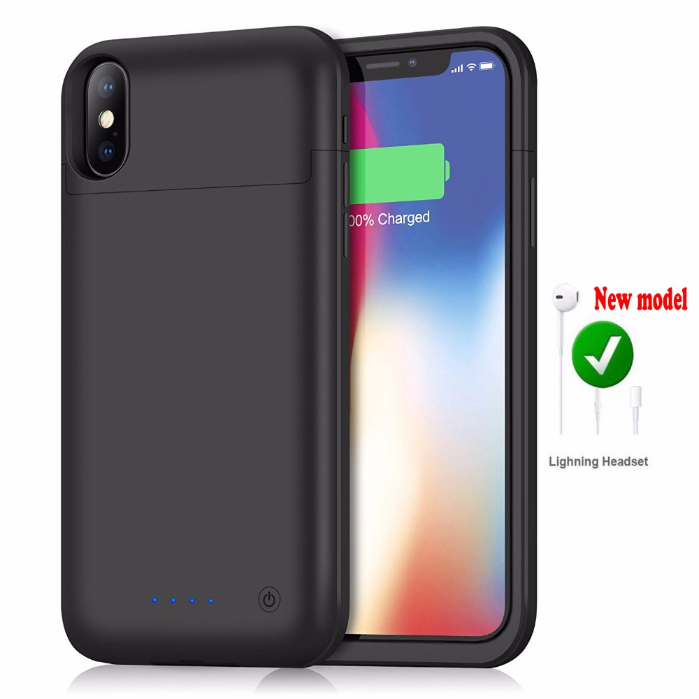 Pour iphone X 5200 mAh Audio écouteur Externe Power Back Pack Chargeur de Batterie de Couverture De Caisse Adaptateur avec trempé verre USB ligne