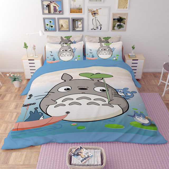 Japanese Anime My Neighbor Totoro Bedding Sets Twin Queen King Size Flat Bed Sheets Duvet Cover Children Bedroom Set bedclothes