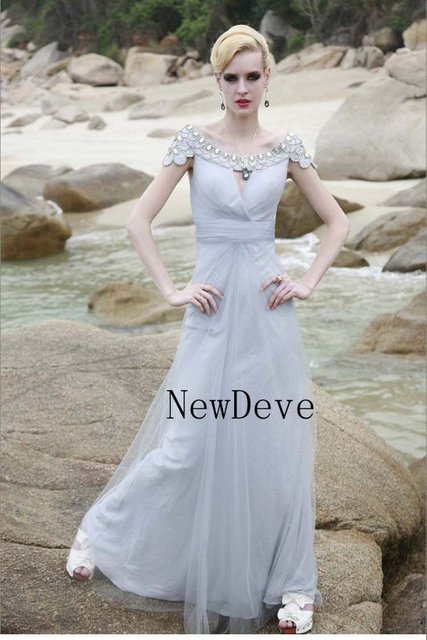 13b67c6294 Super Gray Net Custom Made Strap Boob Tube Top Cap Sleeve Evening Dress  With Beads