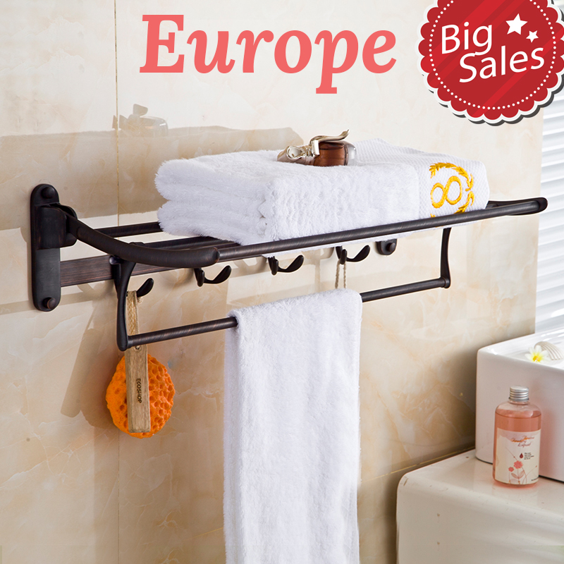 Solid Brass Best price good quality Wall Mount Bathroom towel holder, Foldable towel rack,60cm towel rack with hooks nail free foldable antique brass bath towel rack active bathroom towel holder double towel shelf with hooks bathroom accessories