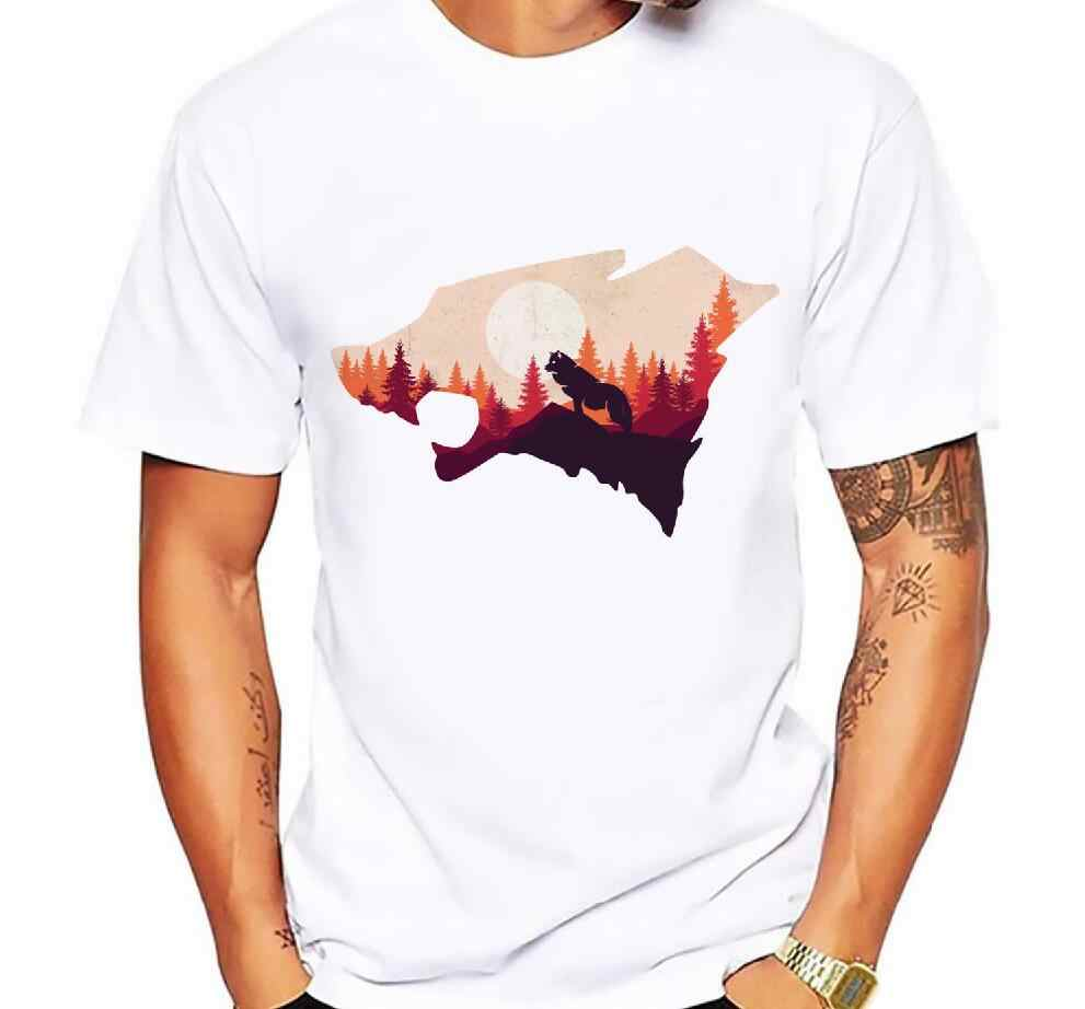 739bc2da1d4 Detail Feedback Questions about Men s Fashion Wolf Mountain Printed T Shirt  Short Sleeve Novelty O neck Design Tops Cool Casual watercolor wolf Men s T  ...