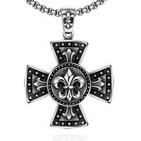 Men Jesus Crucifix Chain Long Necklaces Pendants Silver Round Steampunk Collares Vintage Statement Gothic Cross Circle