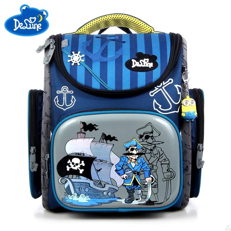 Delune School Bags Children Backpacks Orthopedic Bag for Boys School Backpacks Nylon Mat ...