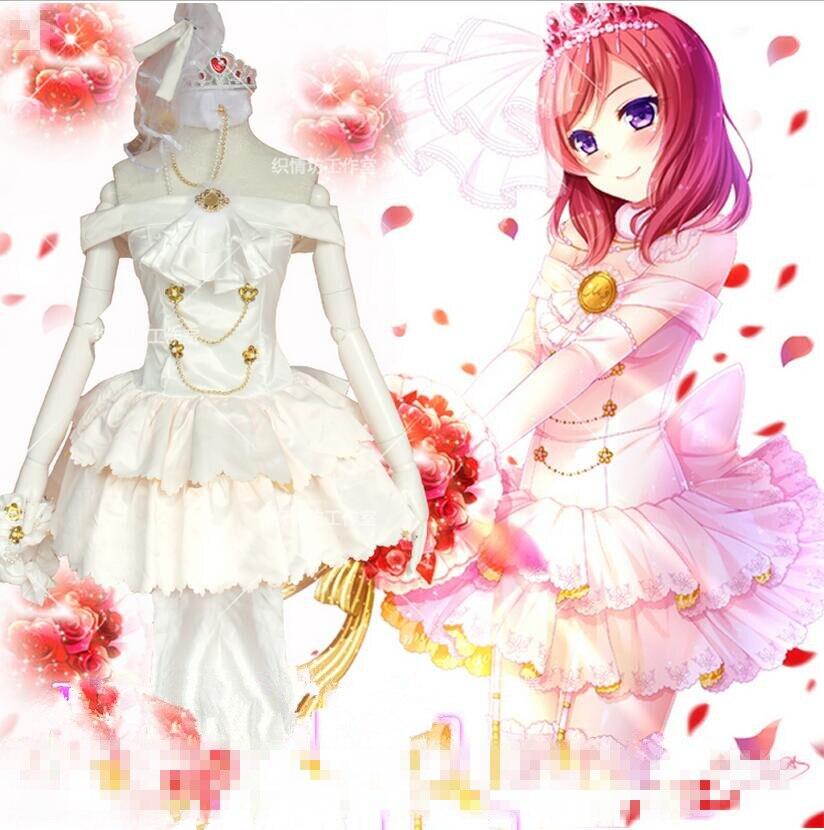 Anime Nishikino Maki Love Live Lolita White Wedding Dress Cosplay