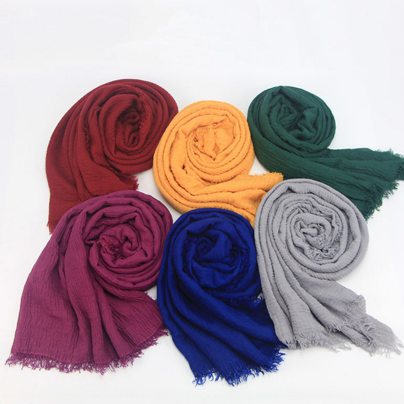 Women Maxi solid scarf bubble plain muslim hijab scarves pashmina foulard shawls bandana fashion head scarf big shawls and wraps in Men 39 s Scarves from Apparel Accessories