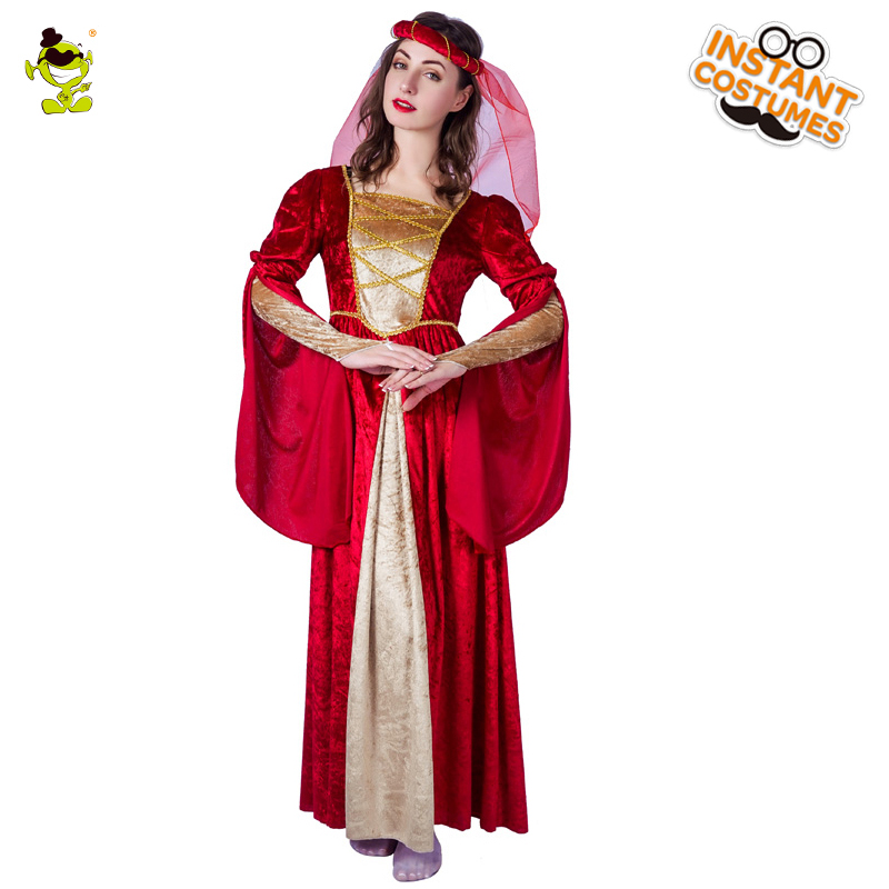 Women's Red Medieval Princess Costume Ladies Elegant Renaissance Queen Cosplay Long Dress For Carnival Party Cosplay