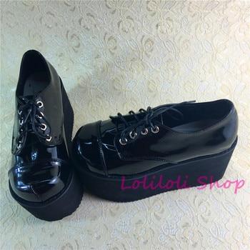 Princess sweet lolita shoes Lolilloliyoyo antaina Japanese design custom shoes thick bottom black bright skin flat shoes 9618a