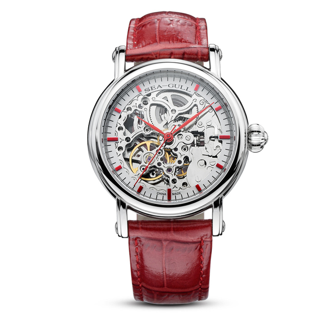 Seagull watch MAN m182sk Automatic Mechanical women's Watch Self Winding Power Reserve Flywheel red band red needle 6