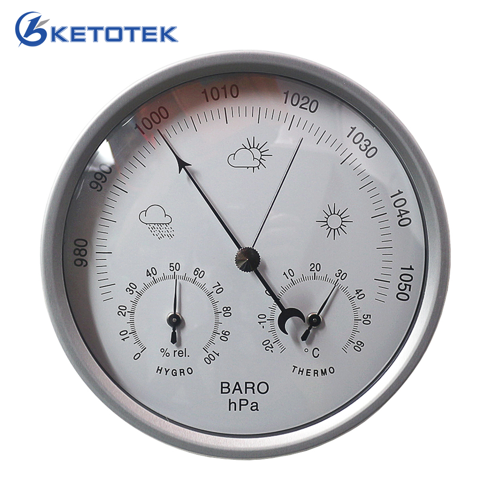 3 in 1 Weather Station Analog Thermometer Hygrometer Barometer 132mm Wall Hanging Temperature Humidity Pressure hPa Meter european style dark gray 22 5cm 3 in 1 thermometer hygrometer barometer weather station