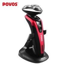 POVOS Professionnel 4D Entièrement Lavable Soft-touch Commutateur de Rasoir avec degrés Rotation Triple Tête Rasage PD9209Q