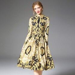 Women's Runway Shirt Dress Elegant Vintage Spring Autumn Jurken Christmas Robe Femme Buttons Long Sleeve Flower Dress Yellow 4