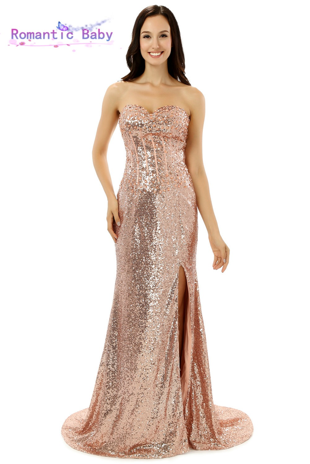 Gold Pink Sequin Cheap Mermaid Long Prom Dresses 2015 Sweetheart ...