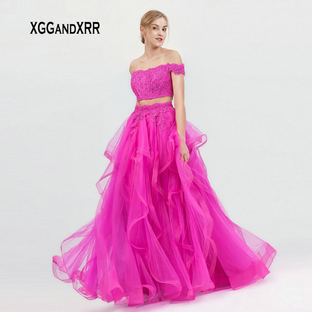 XGGandXRR Elegant Sky Blue Two Pieces Long Prom Dresses 2019 Short Sleeves Strapless Fuchsia Formal Party Gown Gala Evening Gown