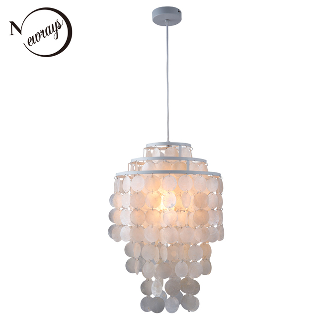 3 Circle Loft Modern White Natural Seashell Chandeliers Res Fixture E27 Lights Shell Lamps For Bedroom Living Room Kitchen