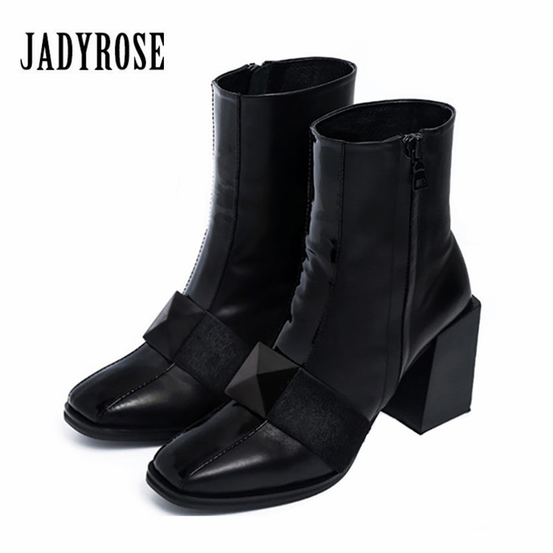Jady Rose Fashion Black Square Toe Women Ankle Boots Chunky High Heels Women Pumps Female Autumn Martin Boots Dress Shoes Woman women ankle boots 2016 round toe autumn shoes booties lace up black and white ladies short 2017 flat fashion female new chinese