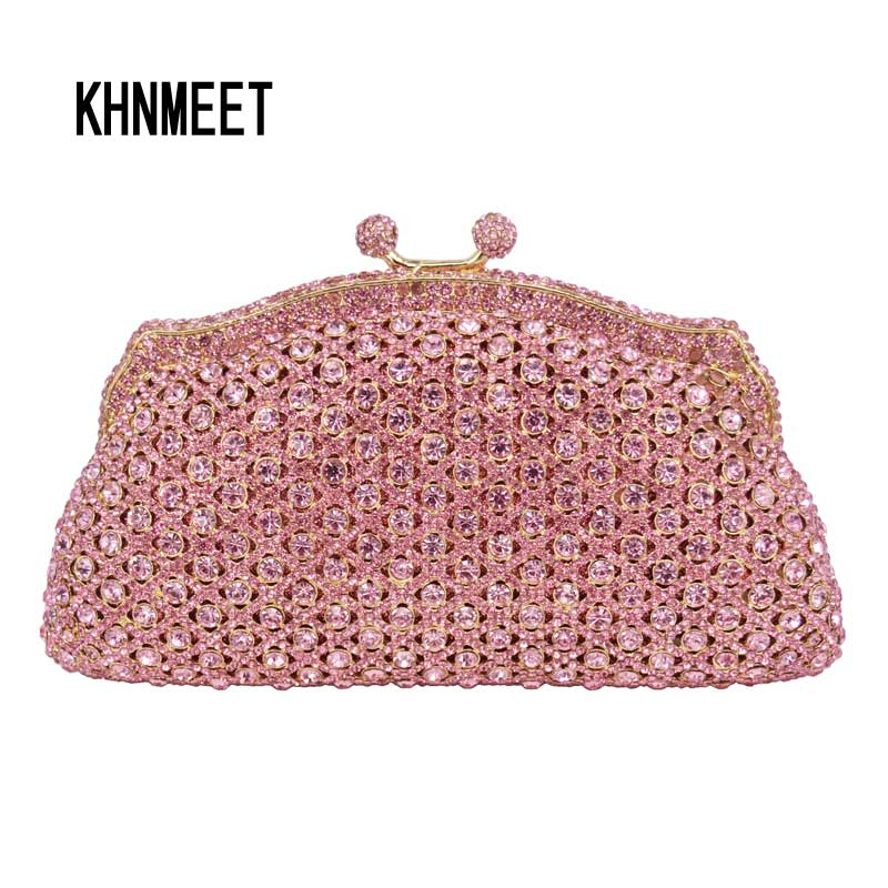 Free shipping Grey Diamond Luxury Evening Clutches Bag Ladies Lovely diamante Wedding Crystal Day Clutch Pink Evening bags SC491 free shipping a15 36 sky blue color fashion top crystal stones ring clutches bags for ladies nice party bag