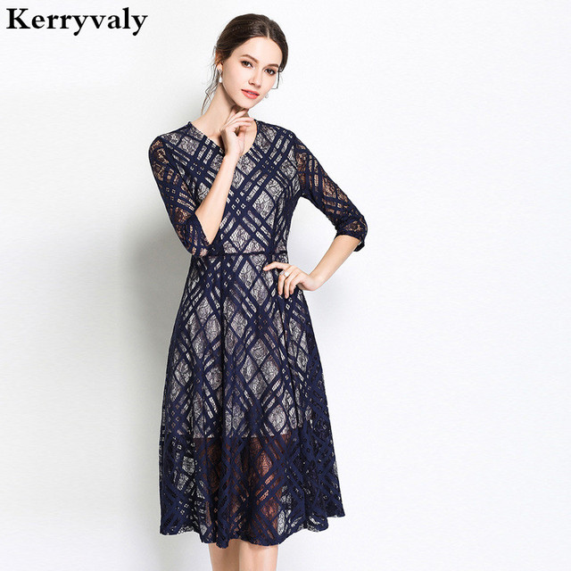 8aff507b927 English Summer Blue Lace Dress Women Vestido Mujer Verano 2018 V-neck  Hollow Out Plaid Work Office Dress Robe Ete Femme K8256