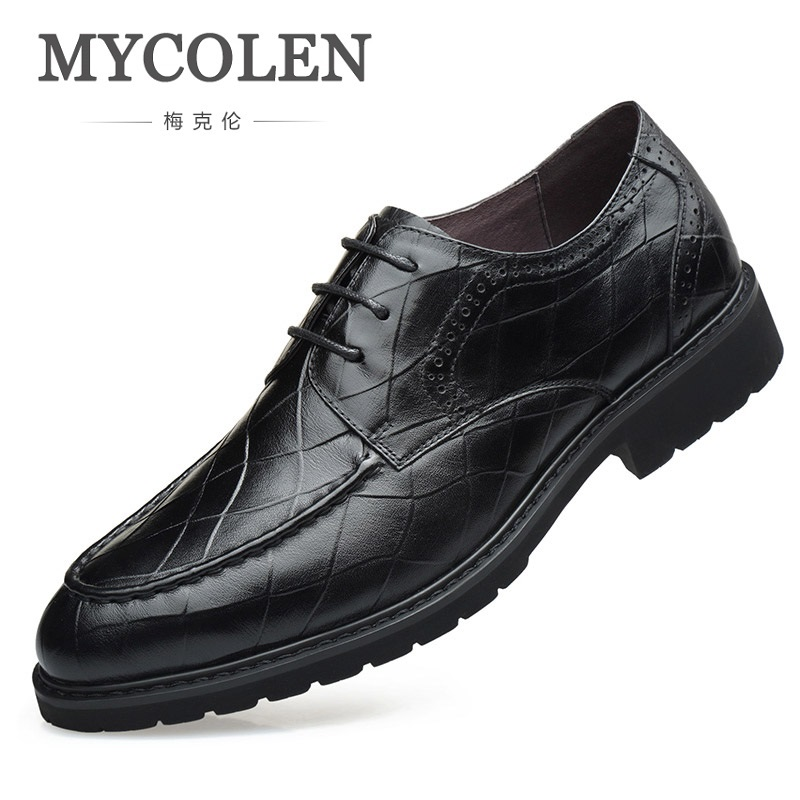 MYCOLEN 2018 Top Quality Leather Dress Shoes Men Black Dress Shoes Business Classical Gentleman Lace-Up Man Shoes Herrenschuhe
