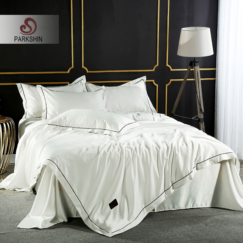 ParkShin White Luxury Bedding Set Silk Soft Double Bed Duvet Cover Silky Bedspread Bed Sheet Set