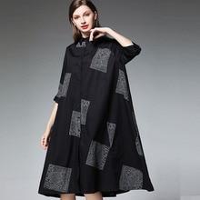 Erregina Plus Size Women Letter Loose Dresses Summer/Autumn Sleeve Female Dress Cotton Turn-down Collar XL 2XL 3XL