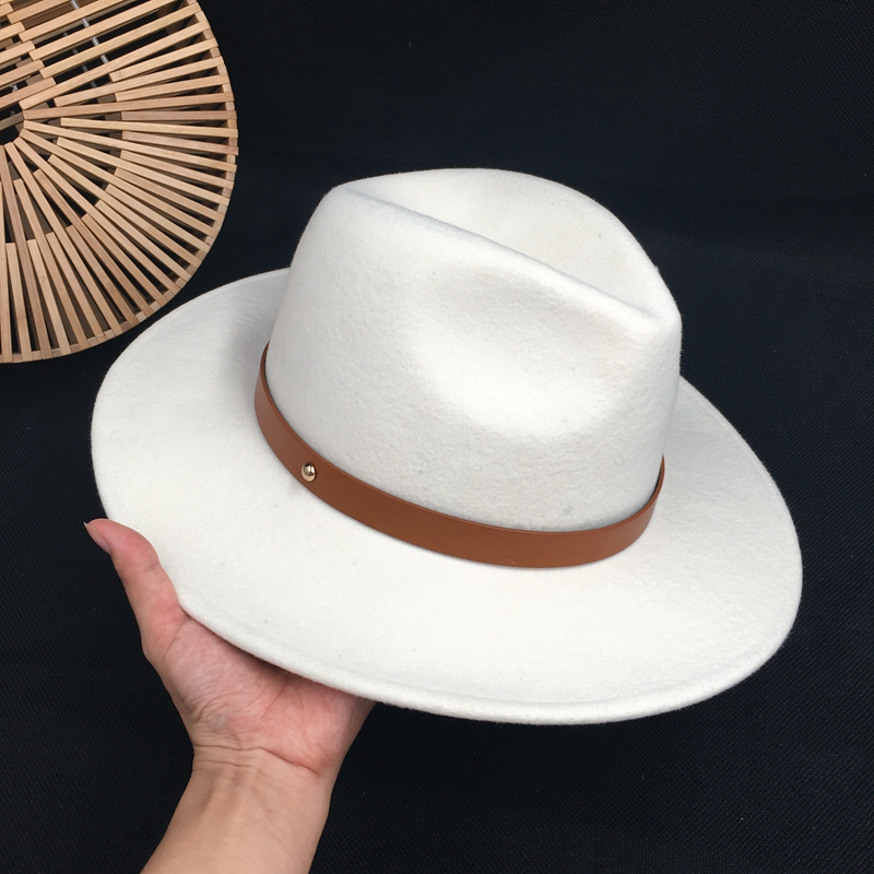 2019 With New Winter Web Celebrity  Paragraph White Wool Felt Hat  Of French Style Restoring Ancient Ways Fedoras