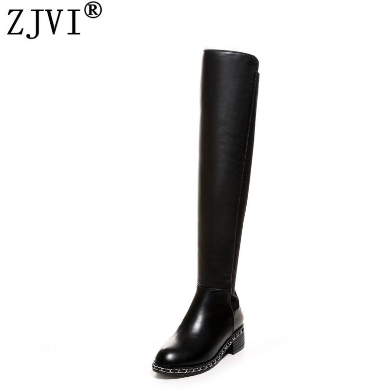 ZJVI Ձգվող իսկական կաշվե ազդր բարձր կոշիկներով կանայք ծնկների երկար կոշիկներով 2018 աշնան ձմեռ կին շղթաներով կոշիկներ տիկնայք սև կոշիկներ