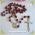 Freeshipping 6mm contas de vidro rosário religioso colar, vermelho escuro católica rosário com cruz liga e peça central