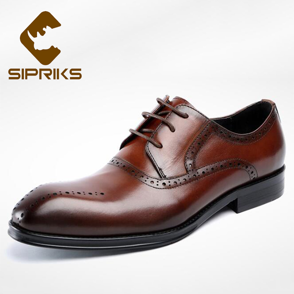 Sipriks Genuine Leather Dress Shoes For Wedding Male Brogue Shoes Boss Men Business Office Gents Shoes Social Suit Lace Up Flats men business dress shoes fashion lace up flats genuine leather formal office loafers party wedding oxfords shoes male walkerpeak