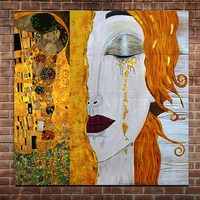 Hight Quality Gustav Klimt Golden Tears Oil Painting on Canvas Hand Paineted Abstract Figure Woman Wall Picture Home Wall Decor