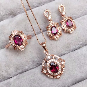 Image 5 - [MeiBaPJ Fine Quality Natural Red Garnet Gemstone Trendy Jewelry set for Women Real 925 Sterling Silver Charm Fine Jewelry