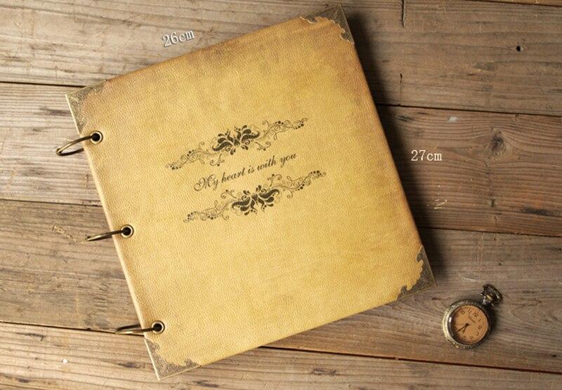 革ヴィンテージハンドメイド Diy のフォトアルバムクラフトスクラップブッキングブックカップル創造的なギフト  グループ上の ホーム&ガーデン からの フォトアルバム の中 1